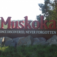 Muskoka roadside entrance sign - reads